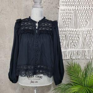 Anthropologie AKEMI+KIN lace top long sleeve